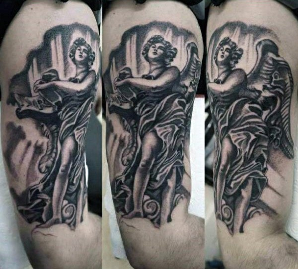 Vintage painting like black and white arm tattoo of angel