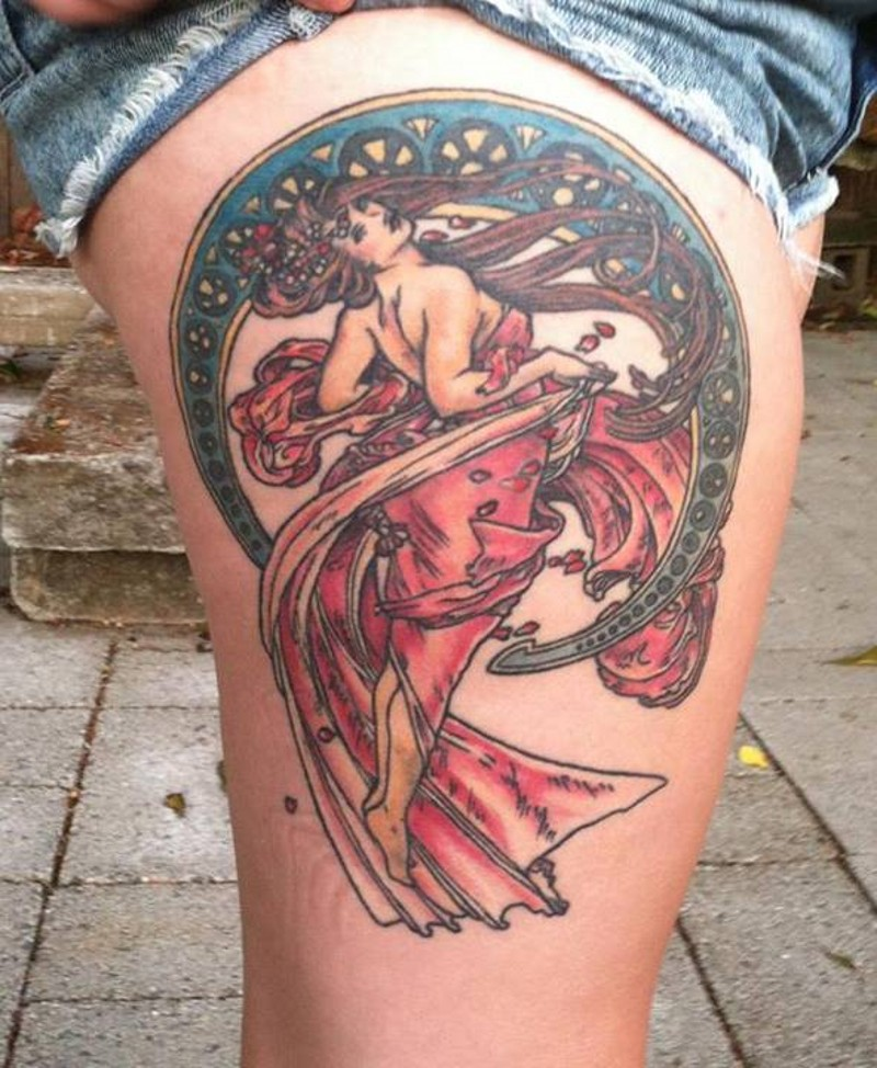 Vintage painting style big colored woman tattoo on thigh with flowers