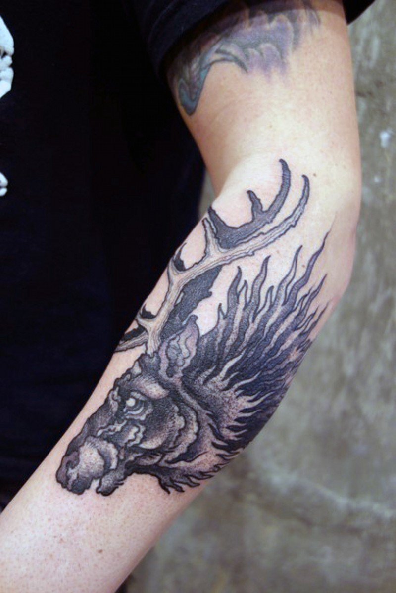 Vintage Painting Style Black Ink Forearm Tattoo Of Old Deer