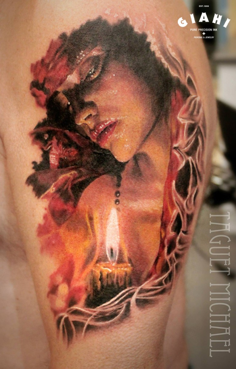 Vintage picture like colored shoulder tattoo of woman with big candle
