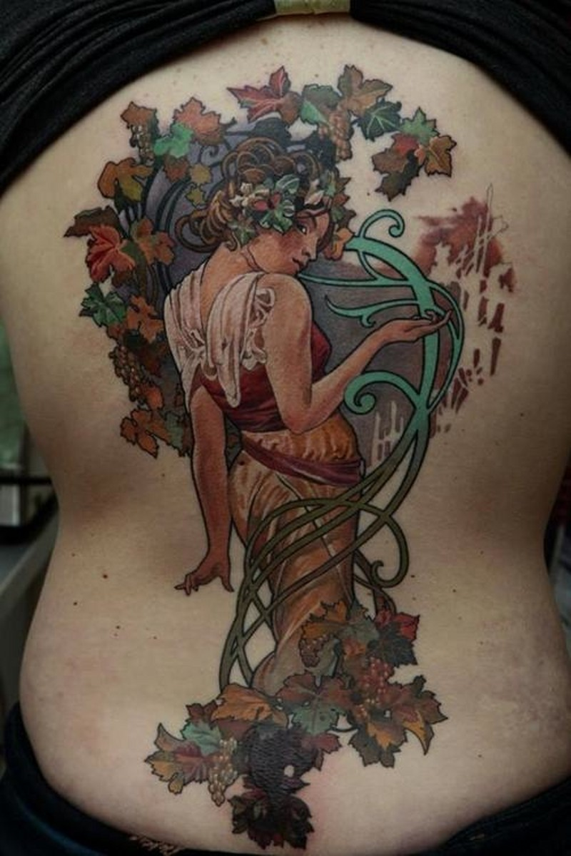 Vintage picture like colored whole back tattoo of beautiful natural woman with leaves