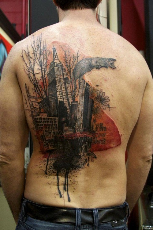 Vintage picture style colored back tattoo of old city with fox and lettering