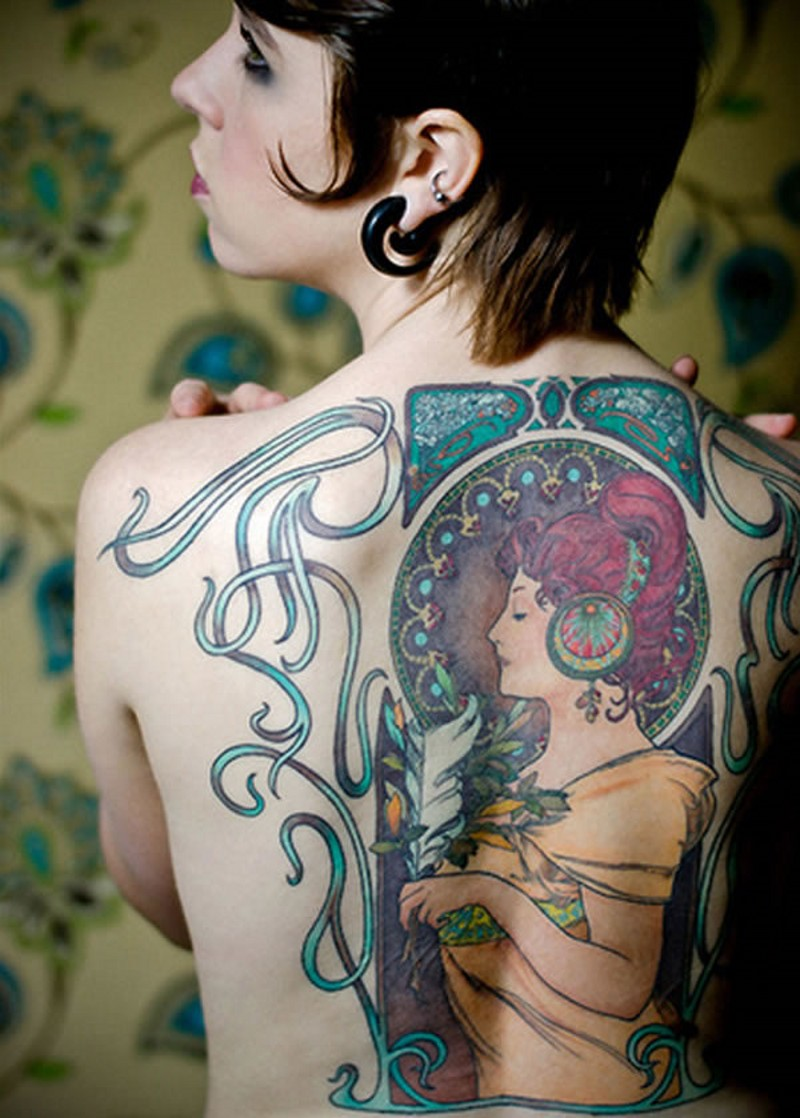 Vintage picture style colored beautiful woman portrait tattoo on back area