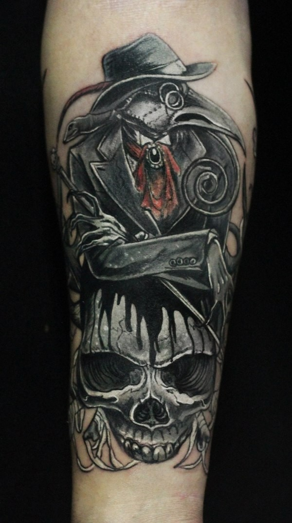 Vintage picture style colored forearm tattoo of plague doctor with big skull