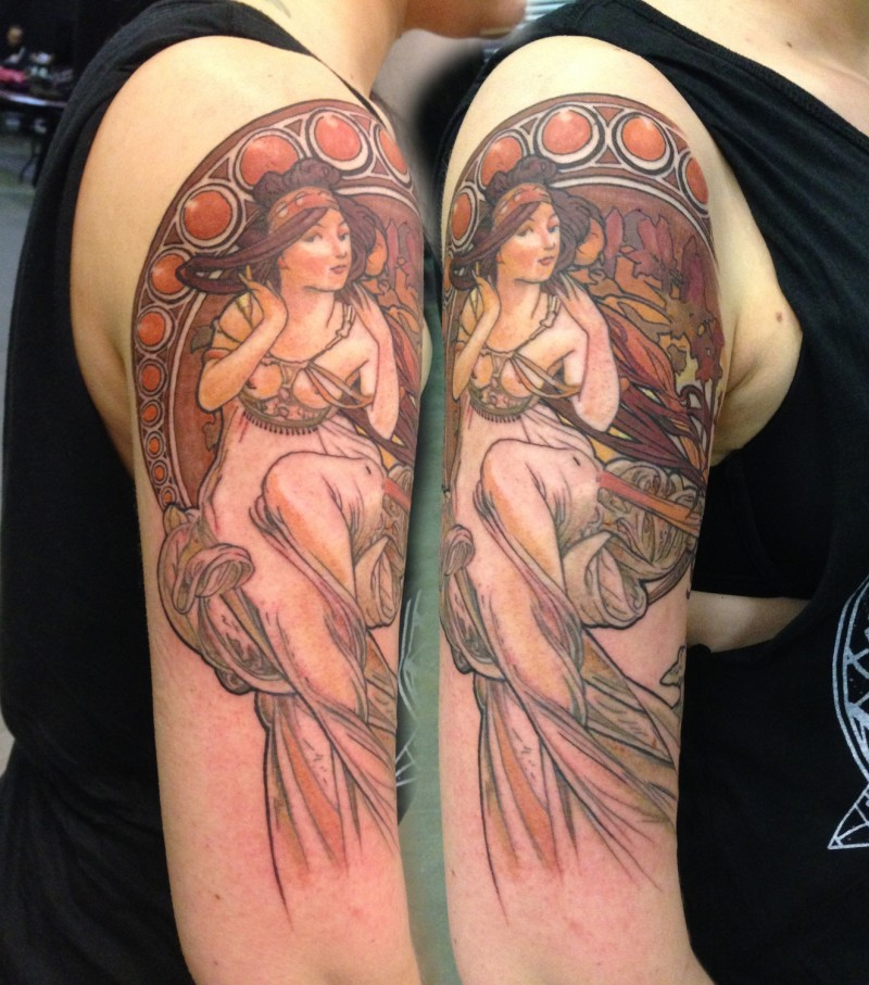 Vintage picture style colored shoulder tattoo of beautiful woman portrait
