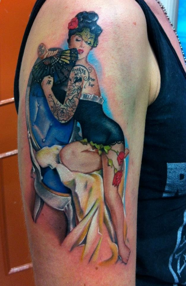 Vintage pinup girl dancer tattoo by David Corden