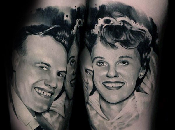 Vintage portrait style black and white happy woman and man
