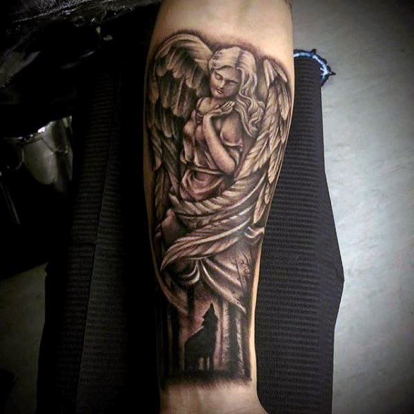 Vintage style black and white antic angel statue tattoo on forearm with wolf