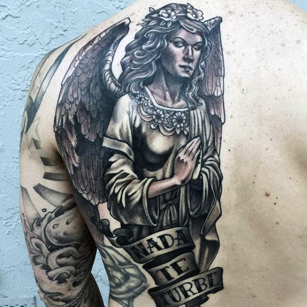 Vintage style black and white half back tattoo of angel with lettering