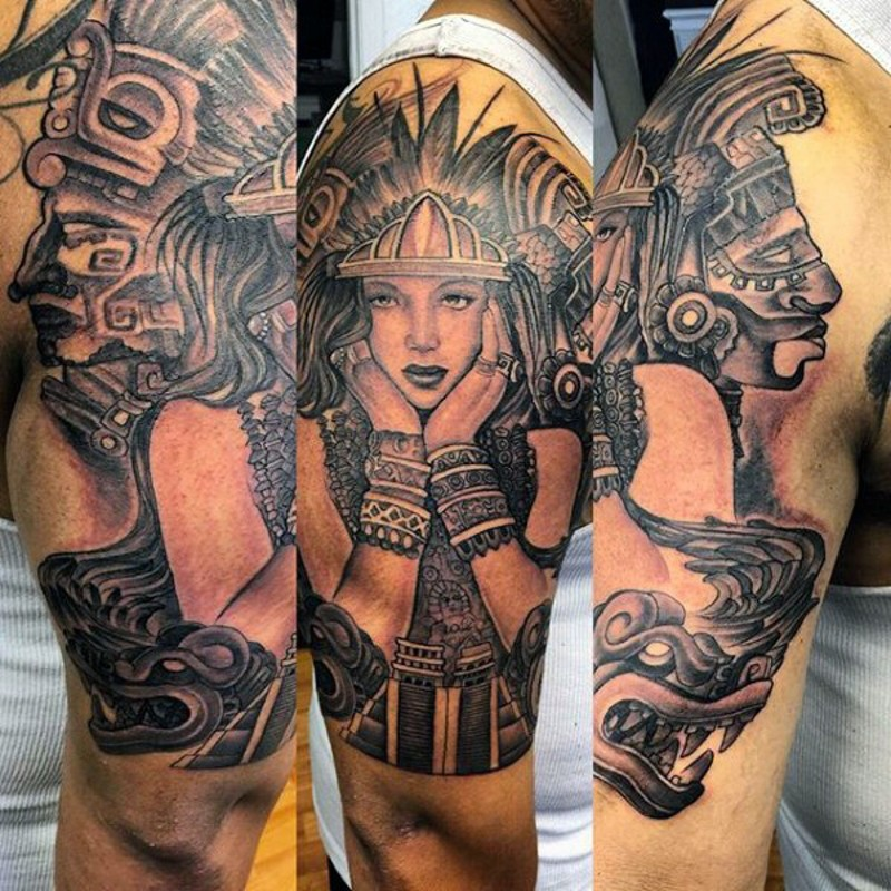 Vintage style black and white shoulder tattoo of tribal woman tattoo on shoulder with antic statues