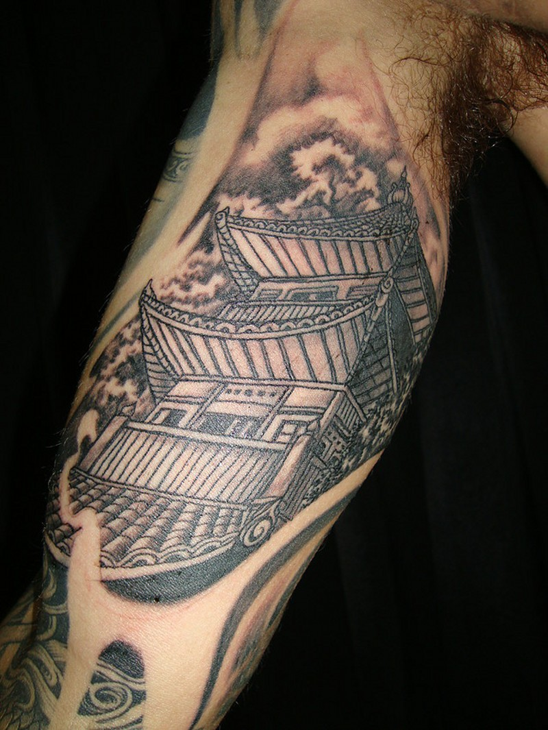 Vintage style black ink arm tattoo of old Asian temple