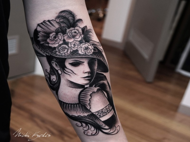 Vintage style black ink arm tattoo of woman with beautiful for What is the best black ink for tattooing