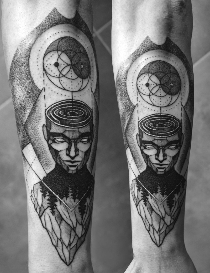 Vintage style black ink forearm tattoo of mystical man with ornaments