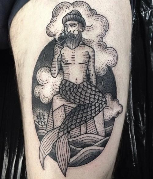 Vintage style black ink funny smoking mermaid-man tattoo on thigh