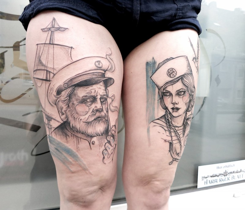 Vintage style black ink thigh tattoo of sailor man and woman with ship
