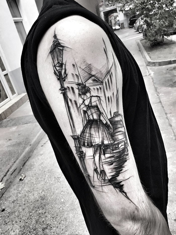 Vintage style black ink upper back tattoo of woman walking down the night city