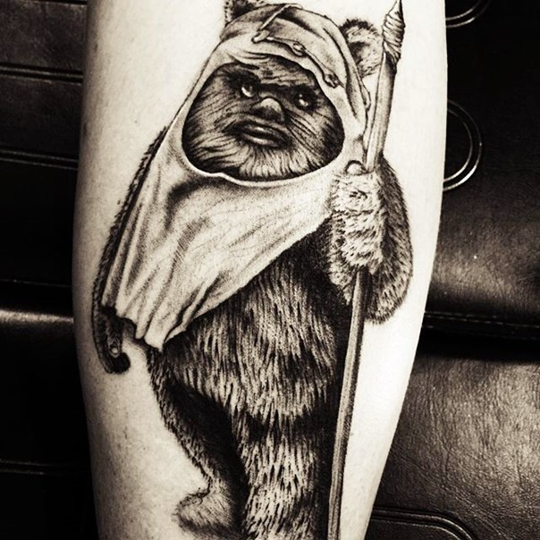 Vintage style black ink very detailed tattoo of little ewok
