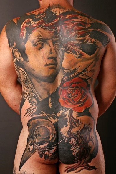 Vintage style colored back tattoo of ancient statue and flowers
