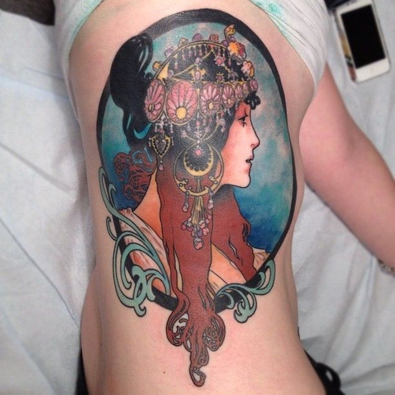 Vintage style colored big side tattoo fo beautiful woman portrait with head jewelry