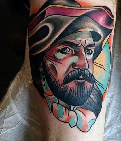 Vintage style colored forearm tattoo of antic sailor portrait