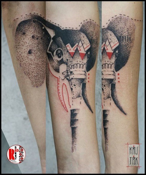 Vintage style colored forearm tattoo of interesting elephant head