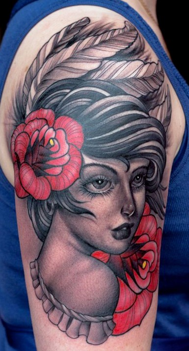 Vintage style colored large shoulder tattoo of beautiful woman portrait and red flowers