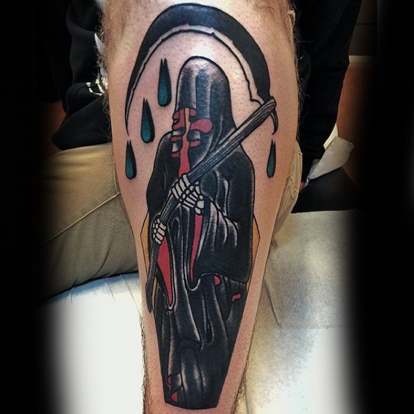 Vintage style colored leg tattoo of mystic Grimm reaper