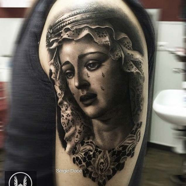 Vintage style colored natural looking shoulder tattoo of crying woman portrait