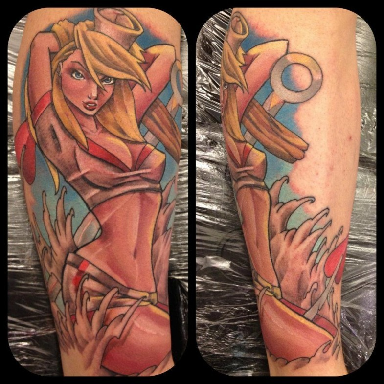 Vintage style colored seductive pin up girl tattoo on leg
