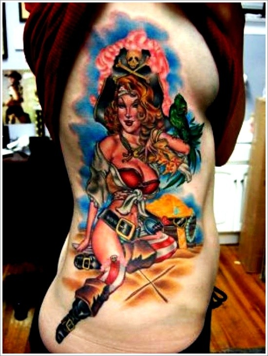 Vintage style colored seductive woman pirate tattoo on side