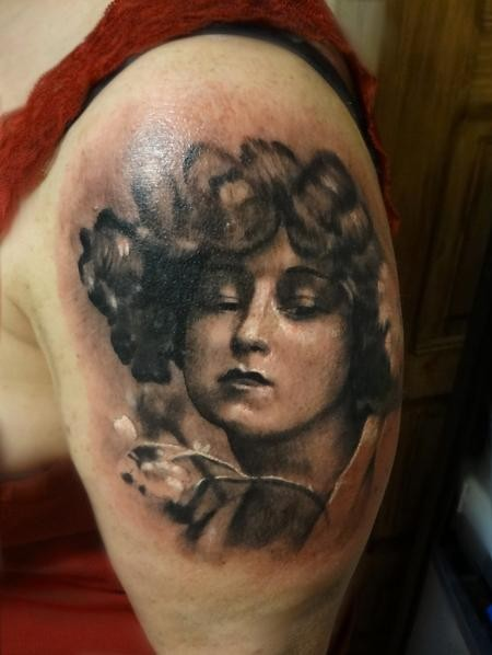 Vintage style colored shoulder tattoo of woman portrait with tree branch