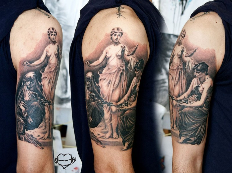Vintage style colored shoulder tattoo of ancient statue