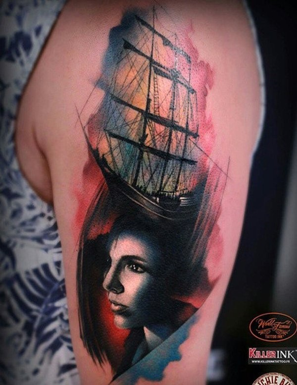 Vintage style colored shoulder tattoo of woman face with sailing ship