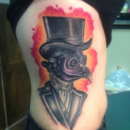 Vintage style colored side tattoo of plague doctor portrait