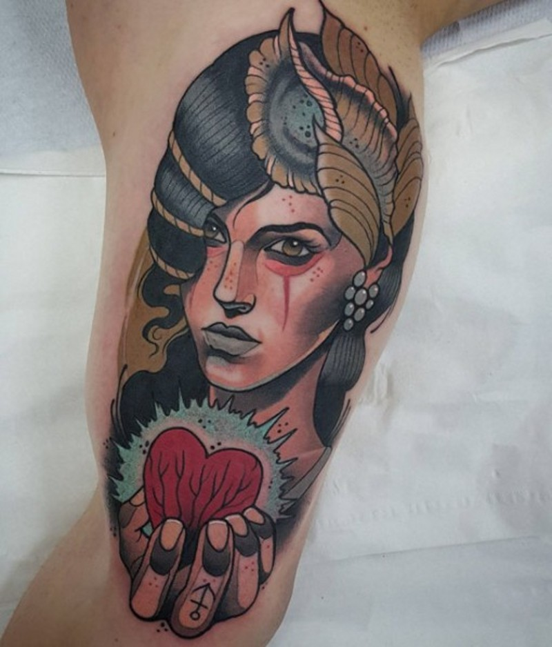 Vintage style colored tribal woman portrait tattoo on arm ...