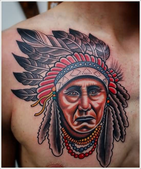 Vintage style colorful American native chest tattoo of old Indian chief