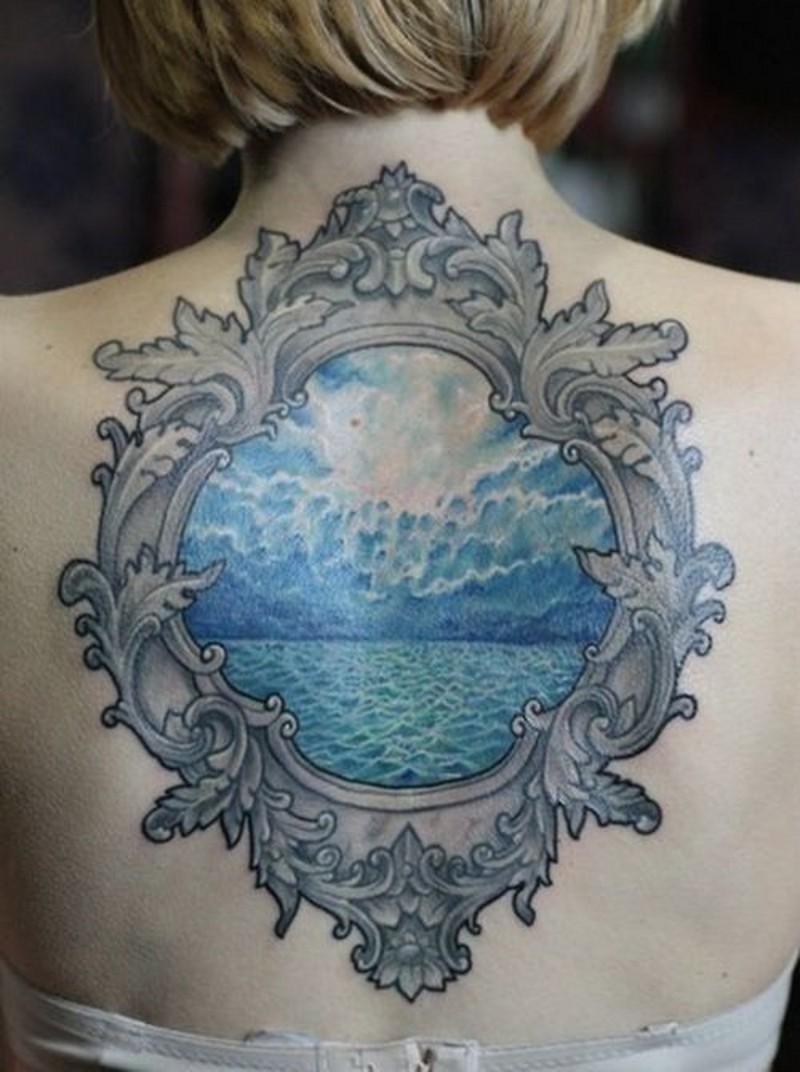 Vintage style designed colored back tattoo of blue ocean portrait