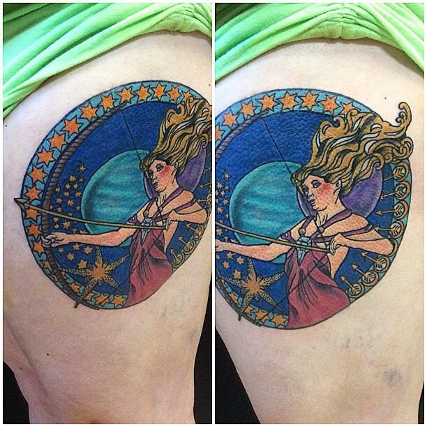 Vintage style multicolored side tattoo of woman Sagittarius