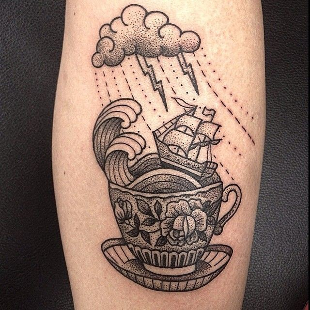 Vintage style original combined black ink cup with sailing ship tattoo