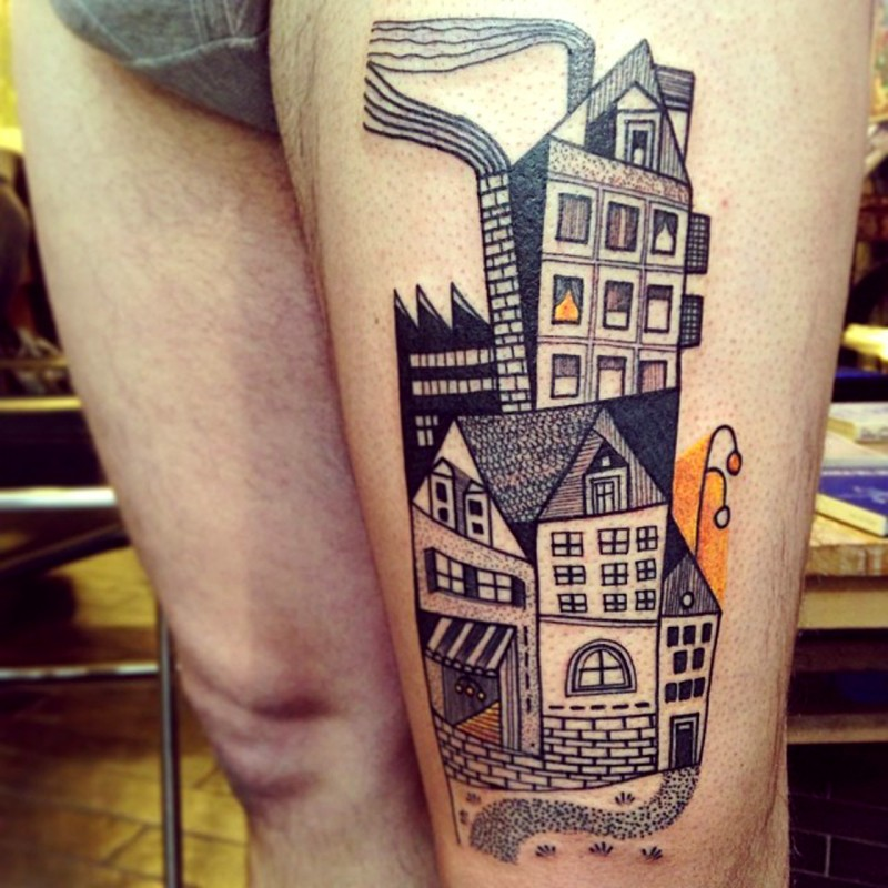 Vintage style painted and colored old city houses tattoo on thigh