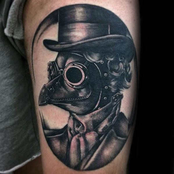 Vintage style very detailed tattoo of plague doctor