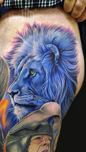 Vivid colors blue lion head tattoo