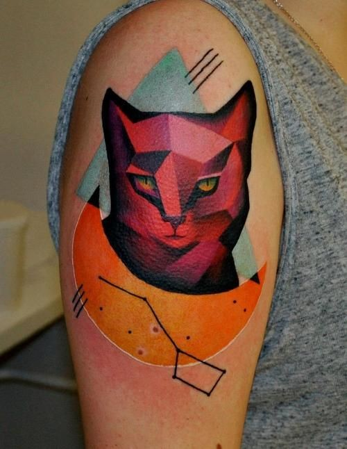Vivid colors cat tattoo on shoulder