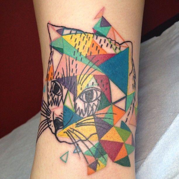 Vivid colors geometric cat tattoo
