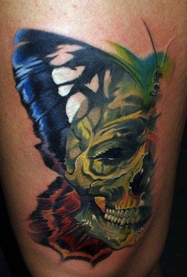 Vivid colors half of butterfly illusion skull tattoo