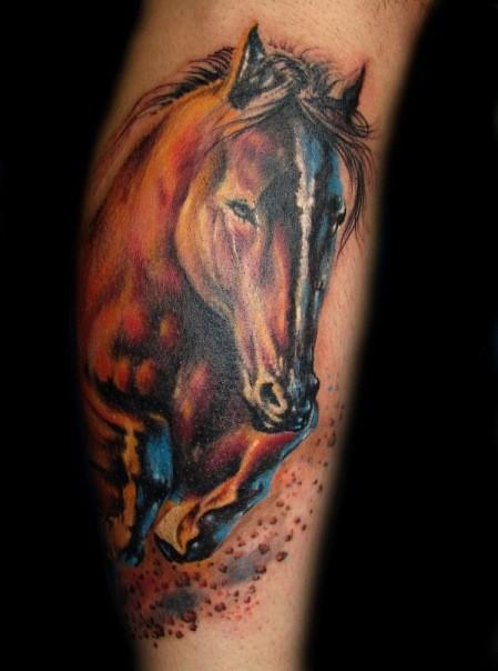 Vivid colors horse tattoo on leg