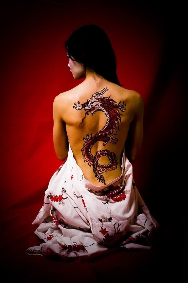 Vivid colors japanese dragon tattoo on back