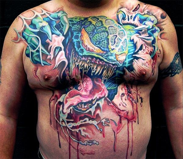 Vivid colors monster tattoo on chest