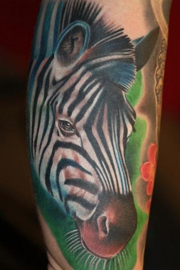 Vivid colors portrait of zebra tattoo