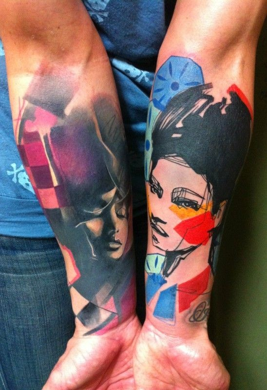 Vivid colors portraits of women forearm tattoo by Ivana Belakova